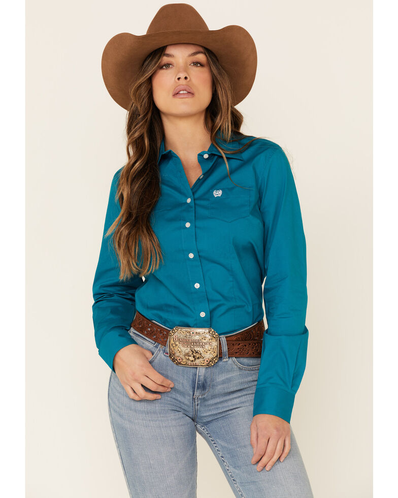 Cinch Women's Teal Solid Button Front Long Sleeve Western Shirt , Teal, hi-res