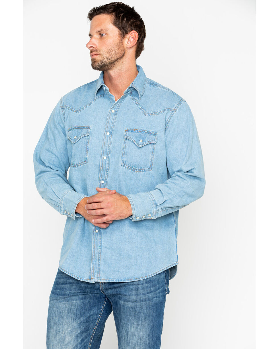 Ely Cattleman Men's Bleached Denim Long Sleeve Western Shirt , Light Blue, hi-res
