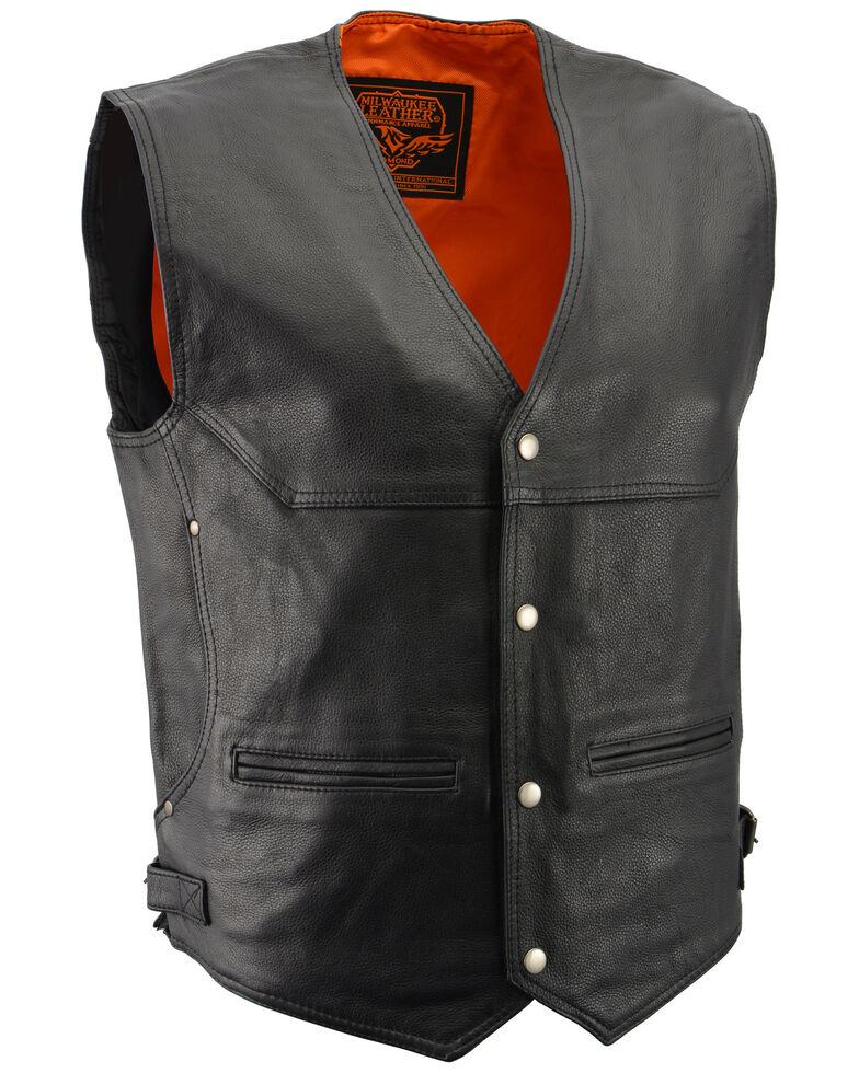 Milwaukee Leather Men's Black Deep Pocket Vest - Big 4X , Black, hi-res