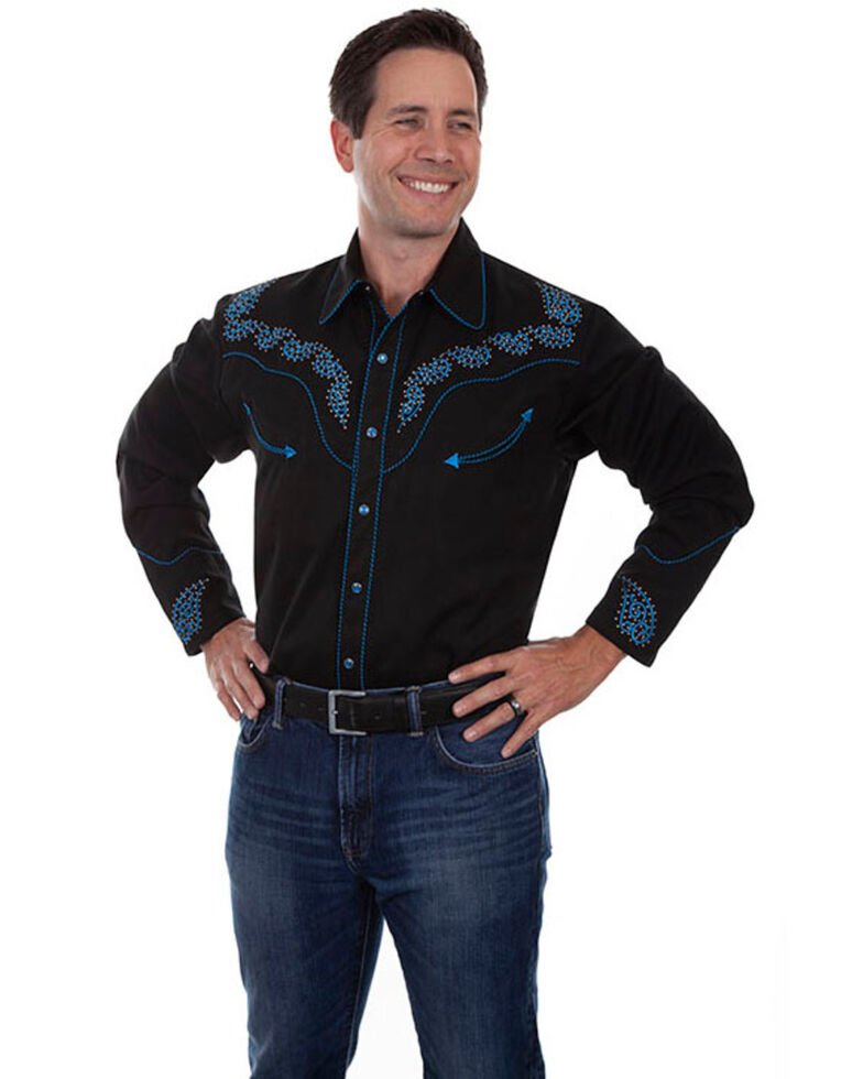 Scully Men's Black Embroidered Paisley Fancy Yoke Long Sleeve Western Shirt , Black, hi-res
