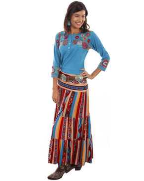 Honey Creek by Scully Women's Serape Tiered Maxi Skirt, Multi, hi-res