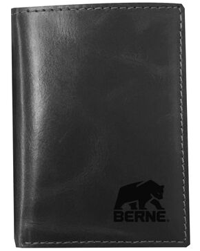 Berne Men's Black Tri-Fold Genuine Leather Wallet , Black, hi-res