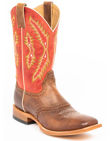 Cody James Men's Red Leather Western Boots - Wide Square Toe, Red/brown, hi-res