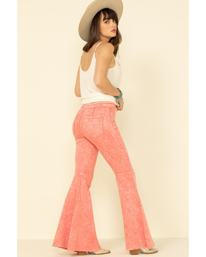 Free People Women's Pink Float On Flare Jeans , Pink, hi-res