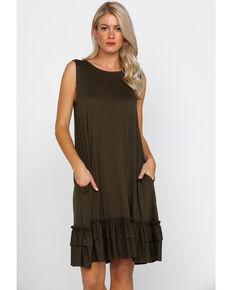 Panhandle Women's White Label Sleeveless Knit Swing Dress , Olive, hi-res