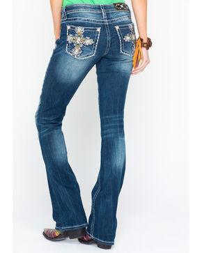 Miss Me Women's Color Stone Cross Pocket Boot Jeans , Medium Blue, hi-res