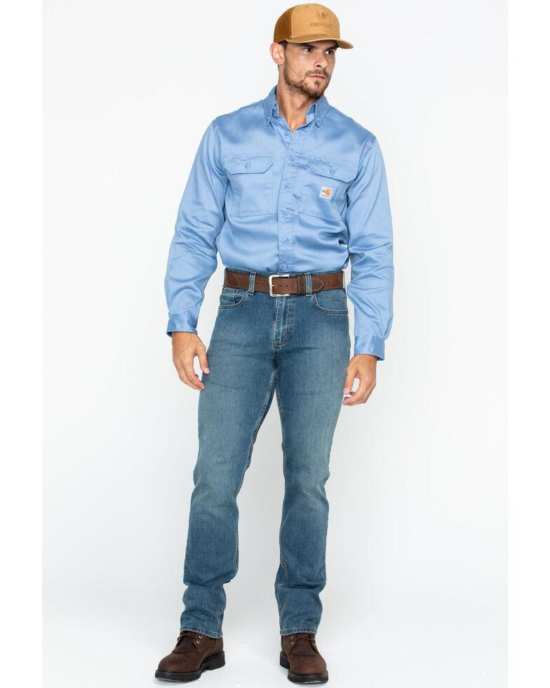 Carhartt Men's Flame Resistant Dry Twill Work Shirt - Big & Tall, Med Blue, hi-res