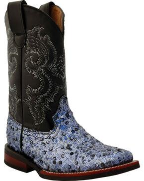 Ferrini Girls' Slate Sparkle Cowgirl Boots - Square Toe, Slate, hi-res