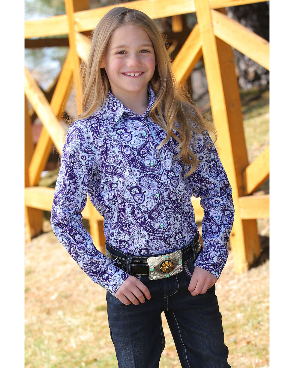Cruel Girl Girls' Paisley Print Snap Long Sleeve Western Shirt , Multi, hi-res