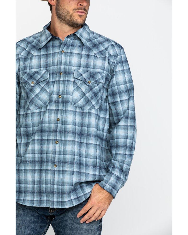 Pendleton Men's Blue Canyon Ombre Plaid Long Sleeve Western Flannel Shirt , Blue, hi-res