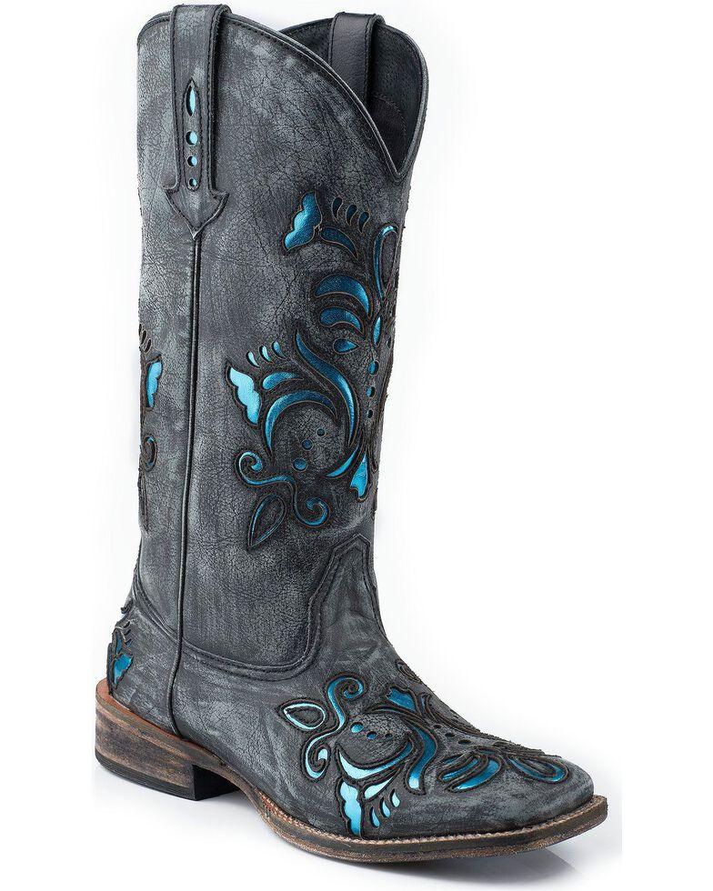 Roper Women's Distressed Scroll Underlay Western Boots, Black, hi-res