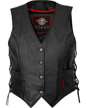 Milwaukee Women's Deuce Leather Motorcycle Vest, Black, hi-res