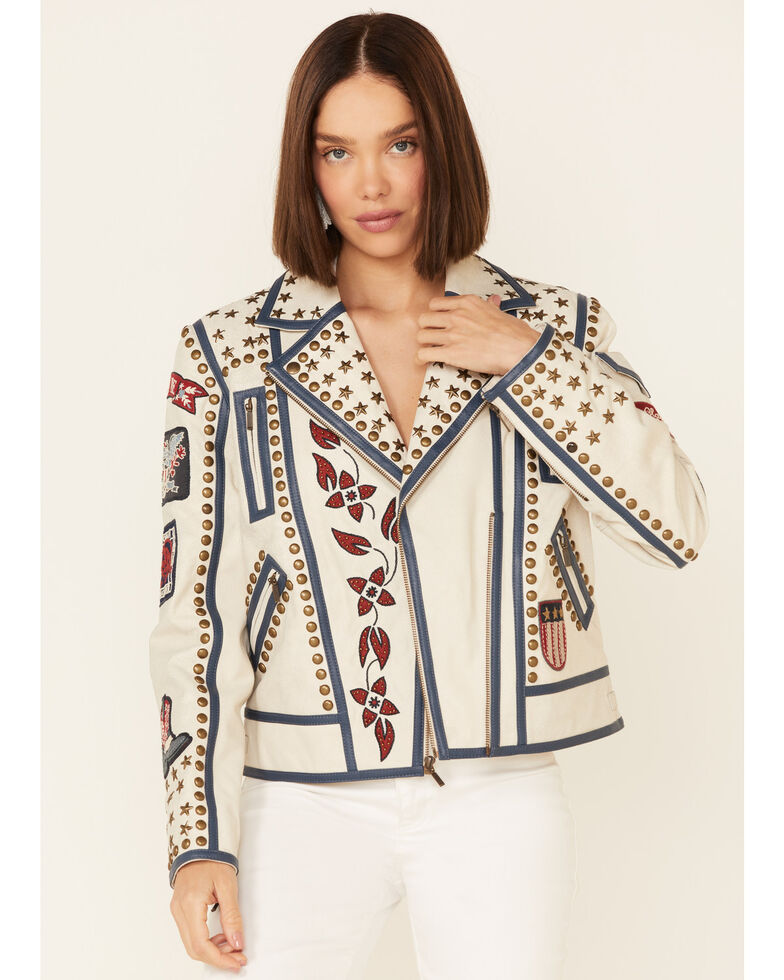 Double D Ranch Women's Liberty & Justice For All Zip-Front Jacket , Ivory, hi-res