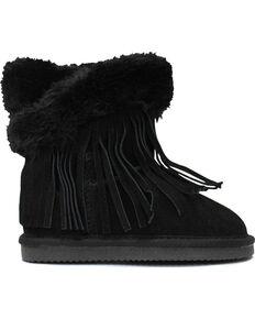 Lamo Footwear Kid's Fringe Wrap Boots - Round Toe, Black, hi-res