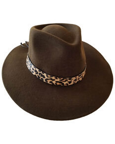 Nikki Beach Women's Leopard Brown Sabi Western Felt Rancher Hat, Brown, hi-res
