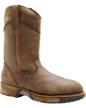 Rocky Men's Steel Toe Wellington Boots, Tan, hi-res