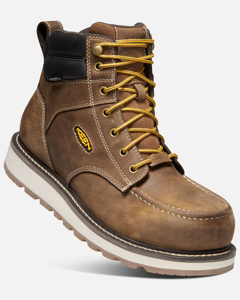 "Keen Men's Cincinnati 6"" Waterproof Carbon-Fiber Work Boots - Safety Toe, Brown, hi-res"