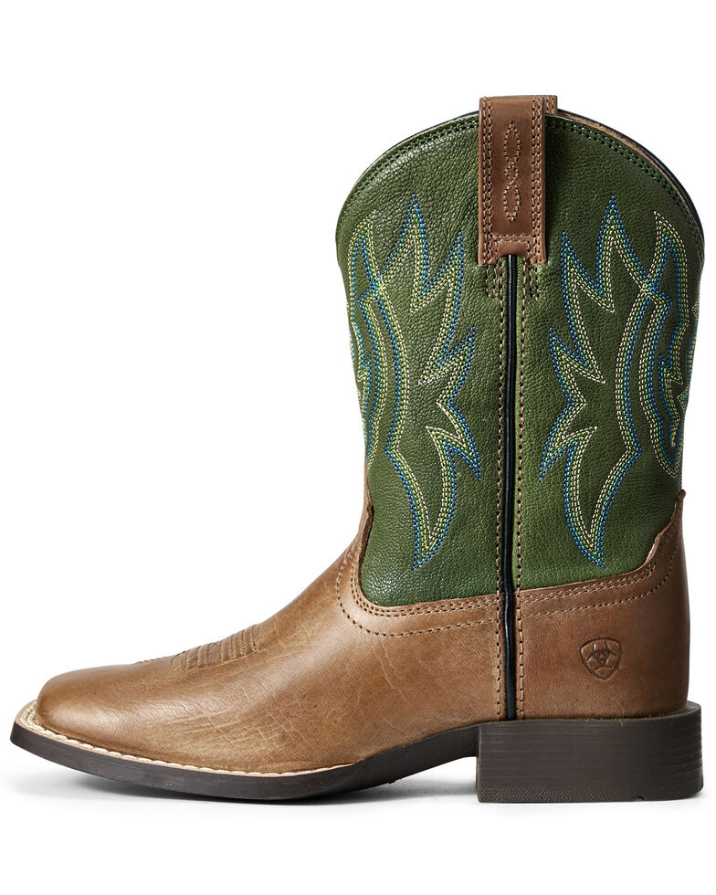Ariat Boys' Pace Setter Western Boots - Wide Square Toe, Brown, hi-res
