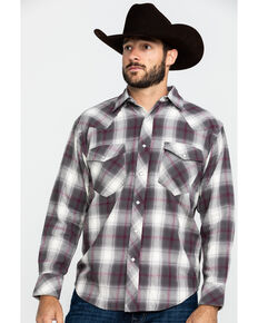 Resistol Men's Brazos Ombre Large Plaid Long Sleeve Western Shirt , Lt Brown, hi-res