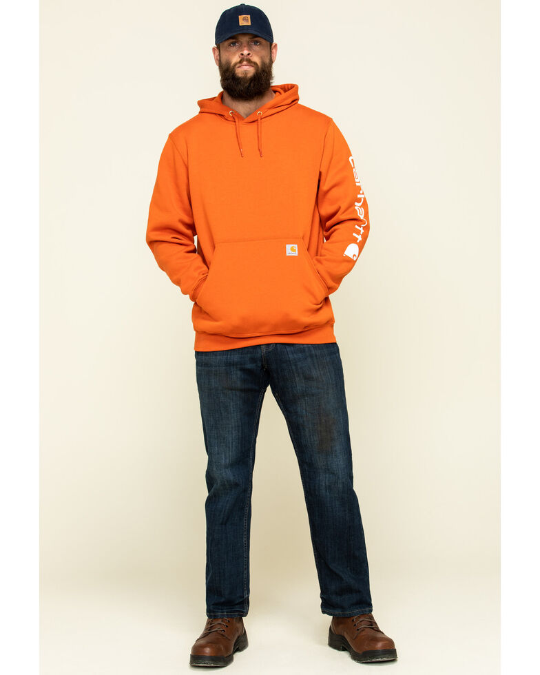 Carhartt Men's Harvest Orange Midweight Signature Sleeve Logo Hooded Work Sweatshirt, Orange, hi-res