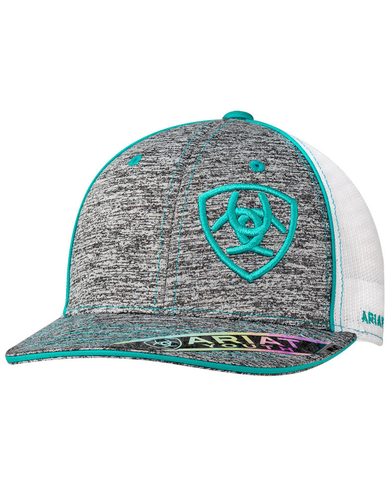Ariat Boys' Turquoise Youth Off Shield Logo Mesh Ball Cap , Turquoise, hi-res