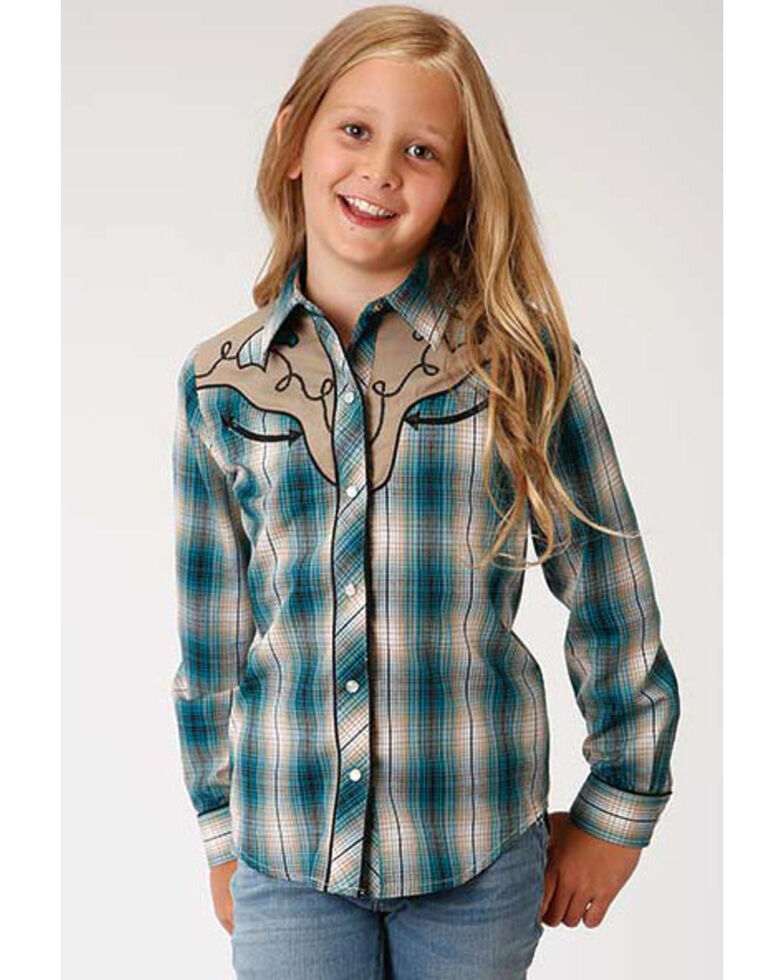 Karman Girls' Retro Green Plaid Snap Long Sleeve Western Shirt, Green, hi-res