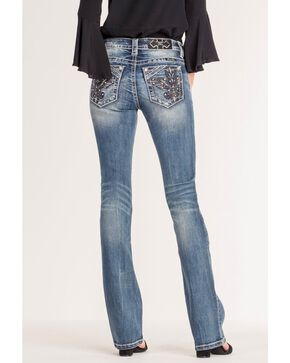 Miss Me Women's Fleur De Lis Boot Cut Jeans, Blue, hi-res