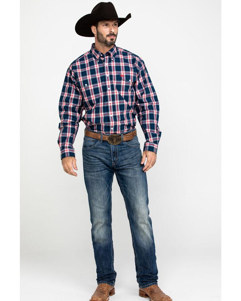 Cinch Men's Multi Plaid Double Pocket Long Sleeve Western Shirt , Purple, hi-res