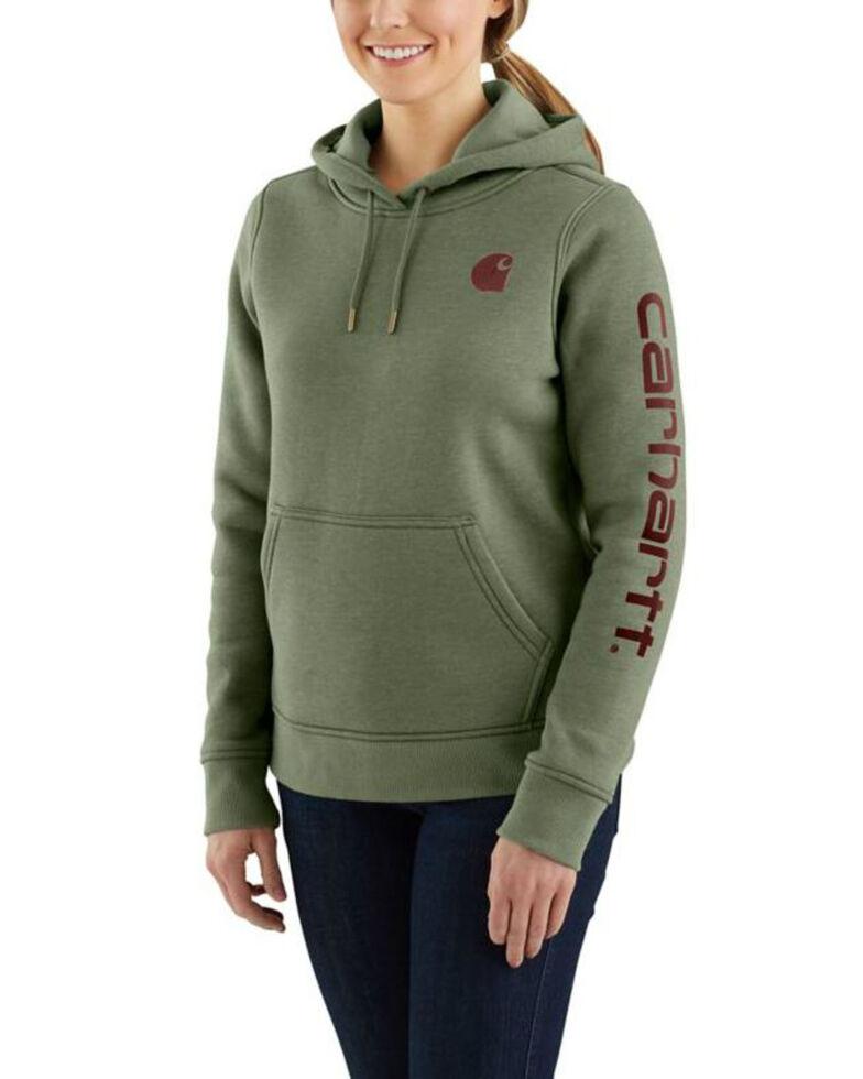 Carhartt Women's Clarksburg Graphic Sleeve Pullover Sweatshirt, Olive, hi-res