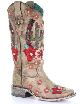 Corral Women's Cactus Floral Embroidery Overlay Western Boots - Narrow Square Toe, Taupe, hi-res