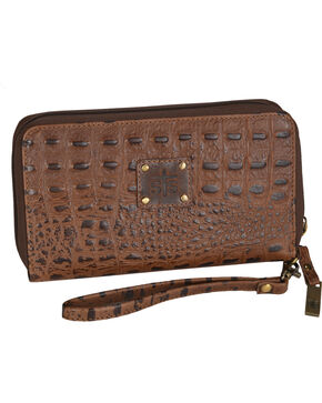 STS Ranchwear Brown Kacy Croc Leather Organizer , Brown, hi-res