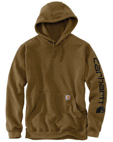 Carhartt Men's Mid Weight Hooded Logo Work Sweatshirt - Big , Brown, hi-res