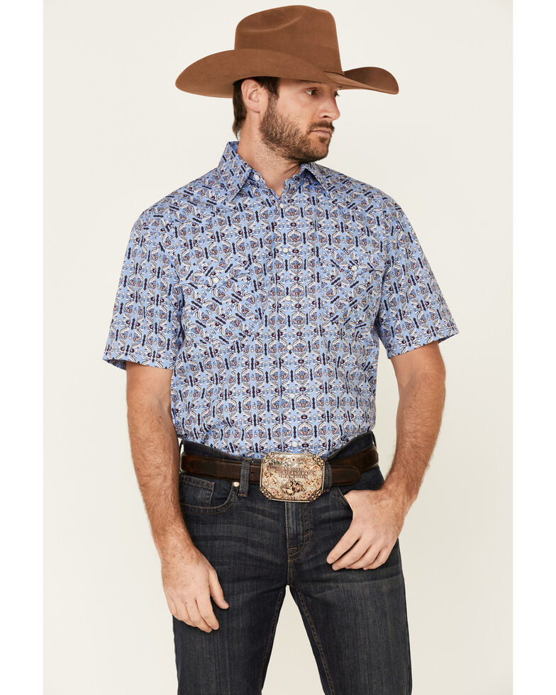 Rough Stock By Panhandle Men's Blue Wallpaper Print Short Sleeve Western Shirt , Blue, hi-res