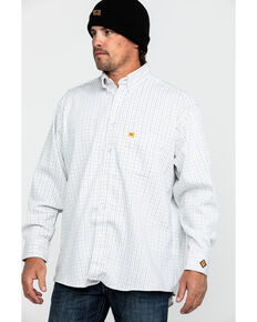Wrangler 20X Men's FR Mini Check Plaid Long Sleeve Work Shirt - Big , Blue, hi-res