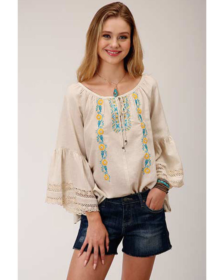 Roper Women's Floral Embroidered Peasant Long Sleeve Blouse, Oatmeal, hi-res