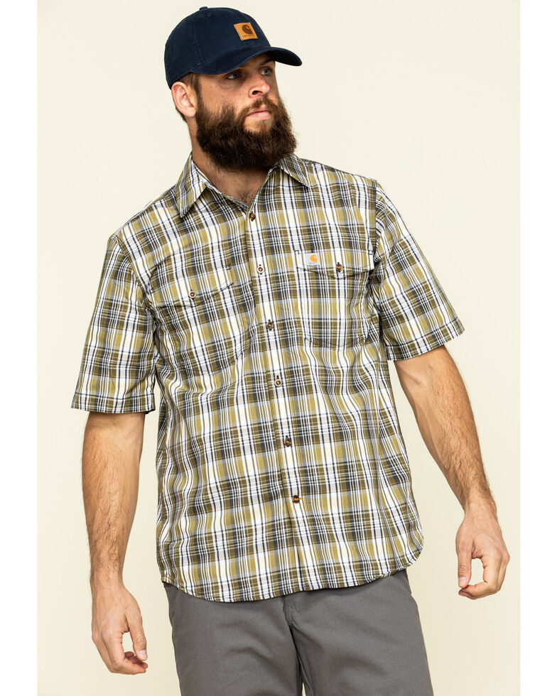 Carhartt Men's Warm Yellow Plaid M-Force Relaxed Short Sleeve Work Shirt , Yellow, hi-res