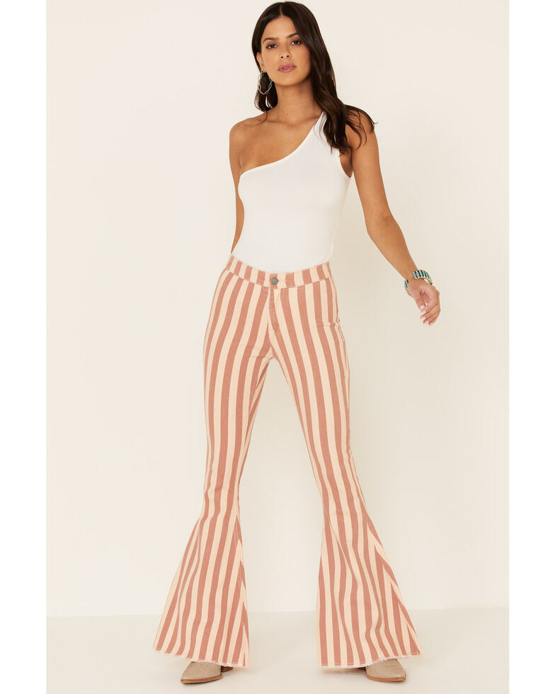 Rock & Roll Denim Women's Ivory Stripe Bargain Bell Bottoms, Ivory, hi-res