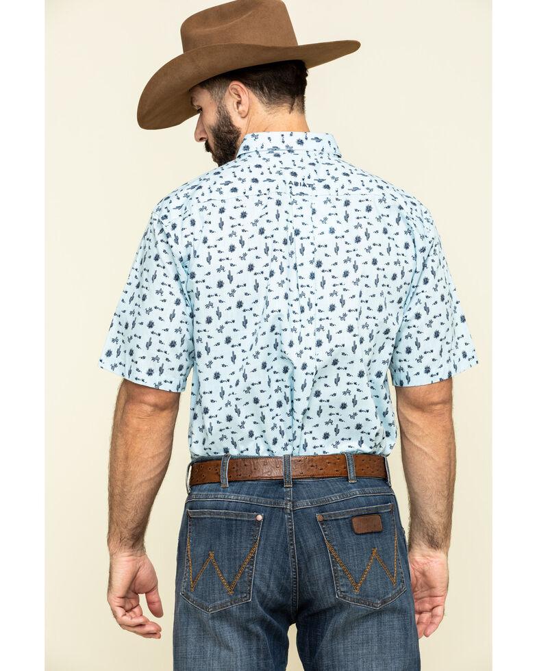Ariat Men's Norristown Cactus Geo Print Short Sleeve Western Shirt , Blue, hi-res