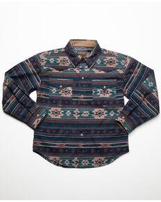 West Made Boys' Cloudy Aztec Print Long Sleeve Western Shirt , Blue, hi-res