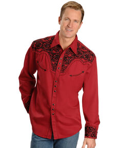 Scully Men's Embroidered Red Retro Long Sleeve Western Shirt, Red, hi-res