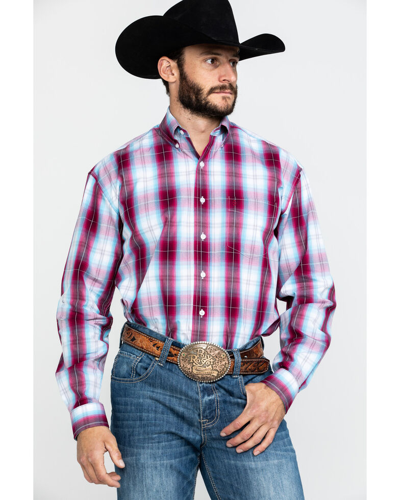 Stetson Men's Spring Ombre Plaid Button Long Sleeve Western Shirt , Red, hi-res