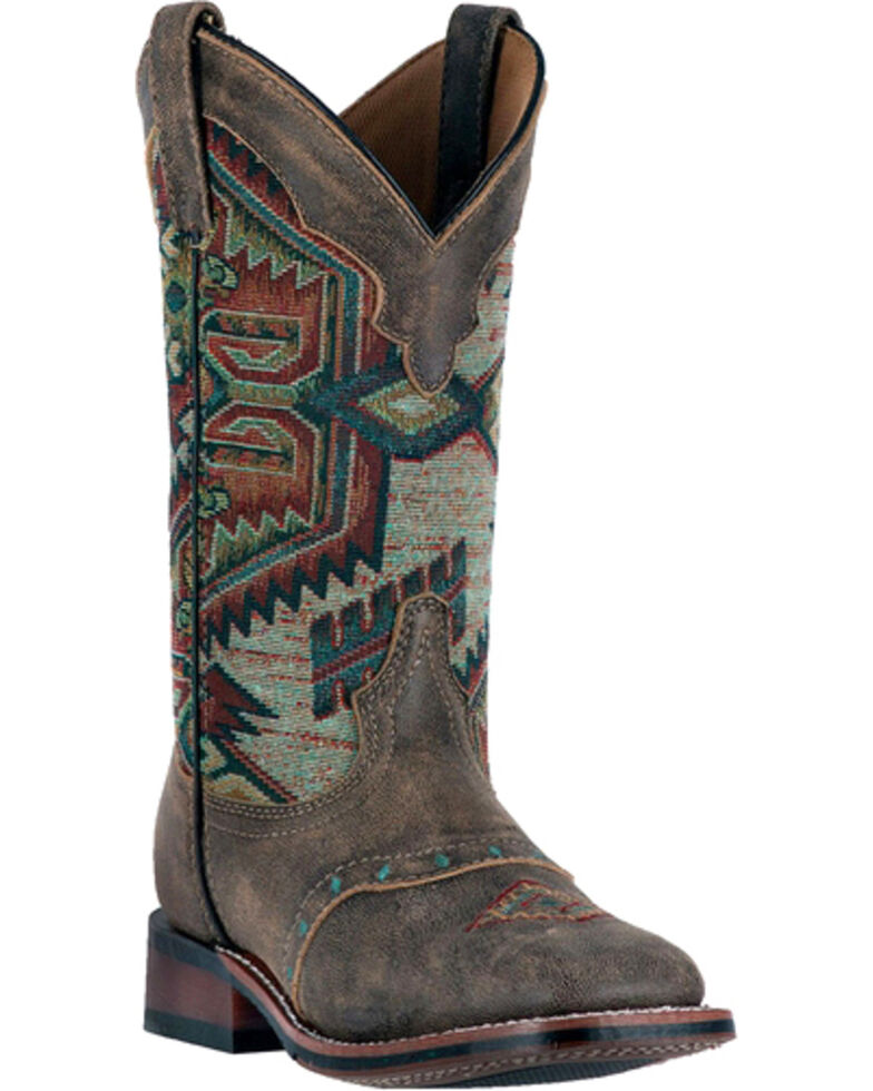 Laredo Women's Scout Aztec Square Toe Boots, Taupe, hi-res