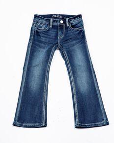 Grace In LA Toddler Girls' Border Pocket Boot Jeans , Blue, hi-res