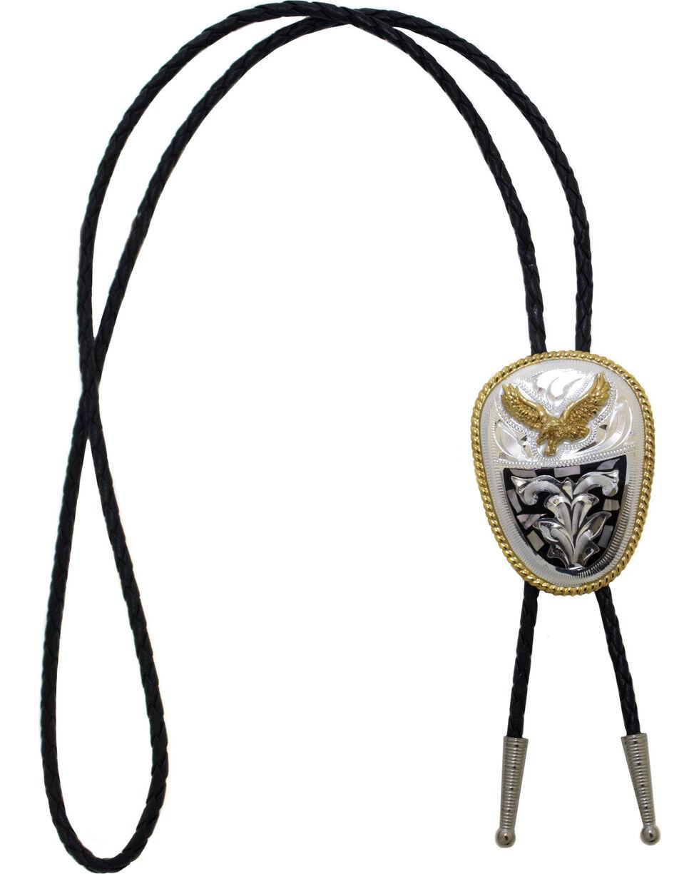 Western Express Men's German Silver Abalone Eagle Bolo Tie, Silver, hi-res
