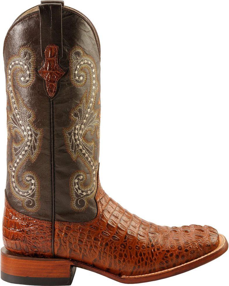 Ferrini Men's Caiman Croc Print Cowboy Boots - Wide Square Toe, Rust, hi-res