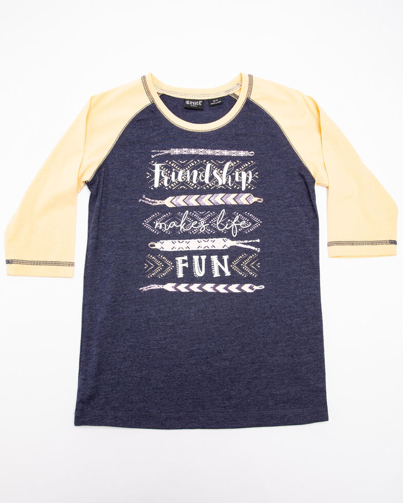 Cruel Girl Girls' Friendship Baseball Tee, Navy, hi-res