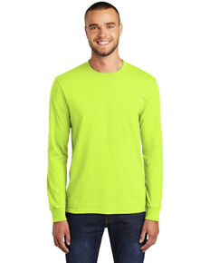 Port & Company Men's Safety Green Core Blend Long Sleeve Work T-Shirt , Green, hi-res