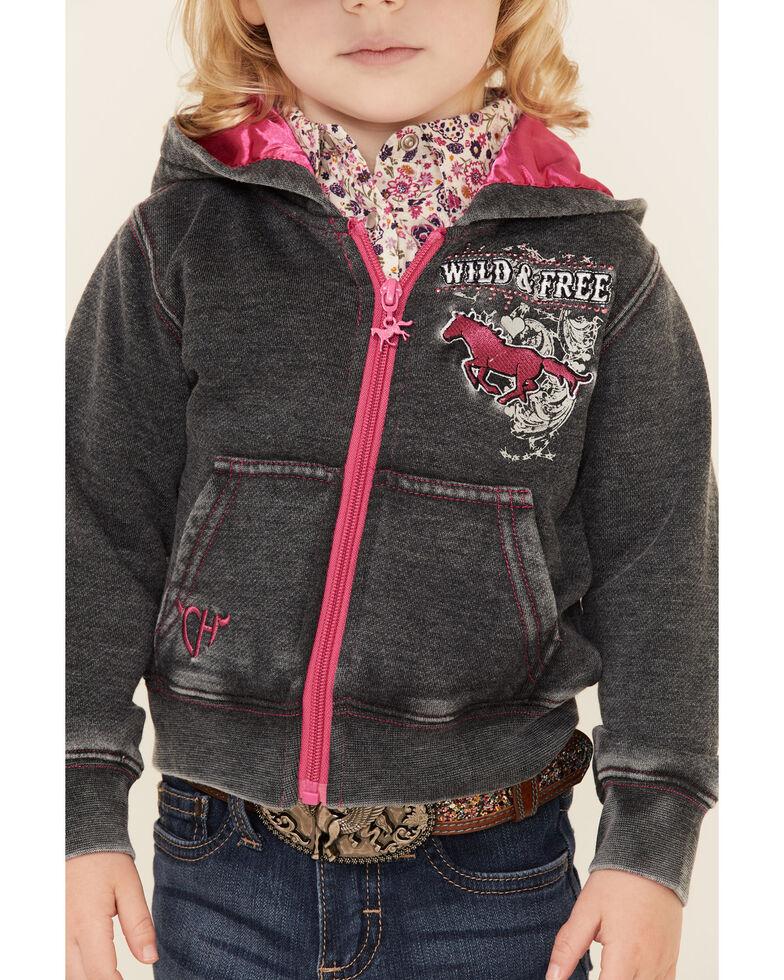 Cowgirl Hardware Toddler Girls' Wild & Free Zip-Front Hoodie , Black, hi-res