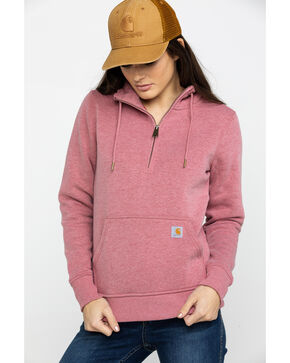 Carhartt Women's Clarksburg Half-Zip Hooded Zipper Sweatshirt, Heather Orange, hi-res