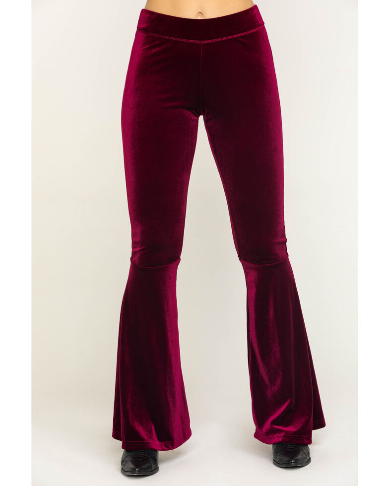 Rock & Roll Cowgirl Women's Velvet Wine Bell Bottoms, Wine, hi-res